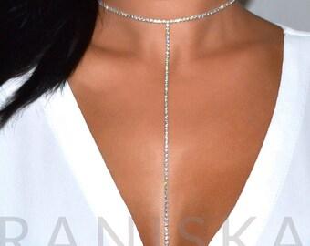 BETINA Set Double T Drop Diamante Choker Necklace Rhinestone Choker Necklace Sparkle Crystal Choker Silver Necklace Prom