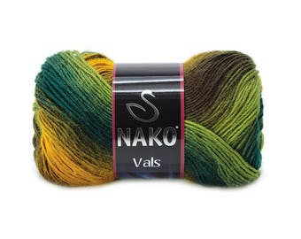 NAKO VALS multicolor premium acrylic yarn shawl yarn hand knit yarn nako yarn melange yarn winter autumn yarn scarf yarn accessories yarn