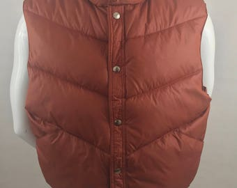 Vintage Campus Rugged Country Rust Colored Ski Vest/Size XL (Mens)