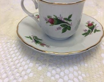 Collectible Demitasse Cup Saucer Pink Glowers Gold Edging