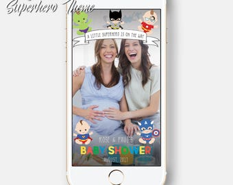 Super Hero Themed Baby Shower Birthday Party It's A Boy It's A Girl Superhero Kids babies heroes Snapchat Geofilter Geotag BabyShower Filter