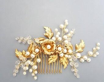 Gold Bridal hair comb, Gold Bridal headpiece, Bridal hair piece, Wedding hair piece, Wedding hair comb, Wedding headpiece