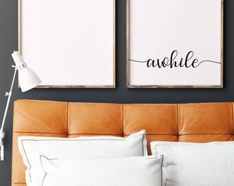 Stay Awhile Wall Art | Modern Farmhouse | Wall Gallery Set | Guest Room Decor | Home Decor
