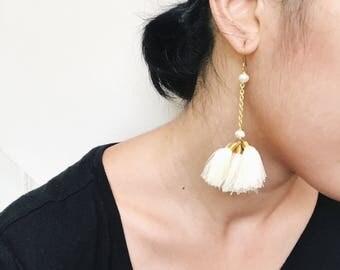 Cream, Beige, Ivory Long fluff tassel earrings boho hippie gypsy style