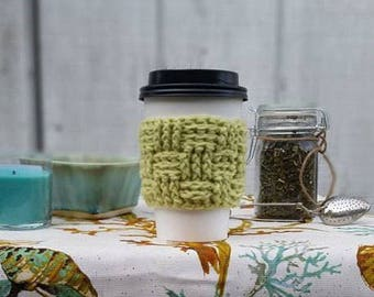 Soft Fern Crochet Cup Sleeve - Island Tourist Basketweave Everyday Cup Sleeve