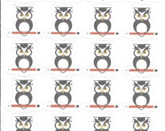 Owl Stickers - Nerdy Owl Stickers - Homework Stickers - Nerd Stickers - Reading Stickers - School Stickers - Library Stickers