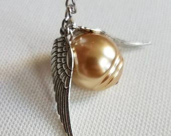 Golden Snitch inspired minimalist necklace
