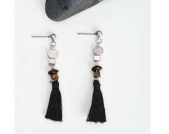 Silver & Black tassel earrings