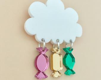 Raining Sweets Acrylic Brooch In Multicolour Mirror