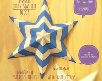 Christmas stars, DIY, printable, Christmas decor, diy Christmas ornaments, Christmas art, holiday decor, stars,4 Christmas tree, BLUE medium