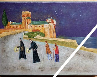 "A bright night, ""Μια νύχτα φωτεινή"", pilgrimage to mount athos, Holy Monastery of Stavronikita, original art on canvas."