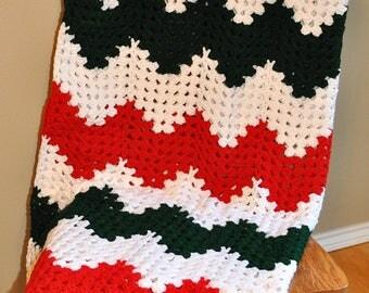 Christmas Crocheted Afghan, Handmade Afghan, Handmade Blanket Throw, Crochet Blanket Throw, Afghan Crochet Handmade, red green white