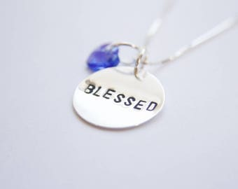 Sterling silver BLESSED pendant necklace with Swarovski crystal charm