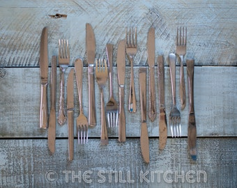 Vintage Silverware On Blue Wood Rustic Kitchen Photography Wall Art