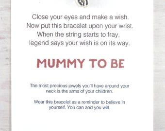 baby feet charm bracelet, friendship bracelet, new mum wish bracelet, expectant mum charm bracelet, baby shower, adjustable string bracelet