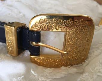 Vintage Motion East Dark Purple Leather belt with Large Brass/Gold buckle
