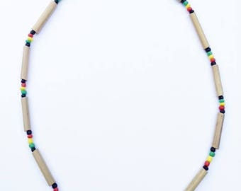 Multi Bead natural bamboo necklace