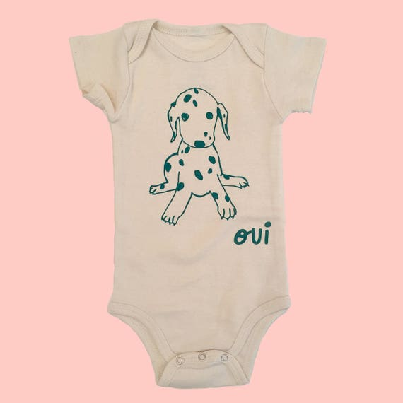 PUPPY -  Organic Baby Bodysuit - Cream