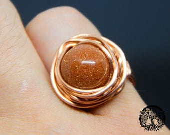 Wire wrapped ring Golden sand aventurine ring Copper ring Steampunk ring Wire wrap ring Mens ring Womens ring Magic ring Best gift For her