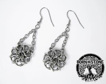 Egyptian earrings Chainmail earrings For her Birthday gift For girlfriend Flower earrings Chainmaille earrings Celtic earrings Best gift