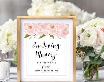 Wedding In Loving Memory Sign, Memorial Sign, Remembrance Sign, Printable Wedding Sign, Blush Watercolor Peonies, Silver Glitter #SG002