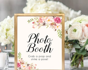 Photo Booth Sign, Grab A Prop And Strike A Pose, Wedding Photo Booth Sign, Printable Photo Booth Sign, Printable Wedding Sign, Floral, #B512