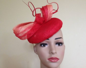 Red and Orange Pillbox Hat,Red and Orange Wedding Hat,Red and Orange Ascot Hat,Wedding Hat Red and Orange,Ascot Hat Red and Orange,Red Hat.