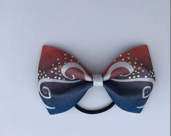 Red, White and Blue Sublimated Tailless Cheer Bow with AB Crystal Rhinestones