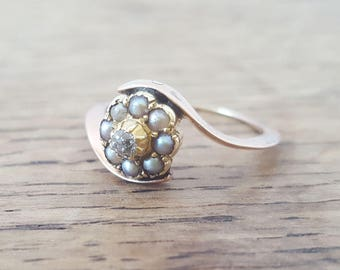 Victorian 9ct Rose Gold Old Cut Diamond & Seed Pearl Cluster Ring