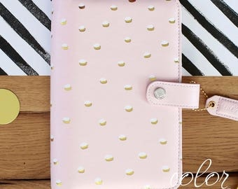 Planner Binder, Blush Gold Dot Leather Cover, A5 Binder OR Personal Size Binder, Notebook Binder, Leather Journal, Ring Binder Notebook