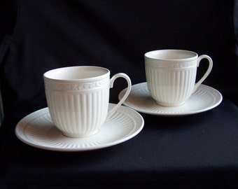 Mikasa Italian Countryside Cup and Saucer Sets, Two Ivory Cup and Saucer Sets