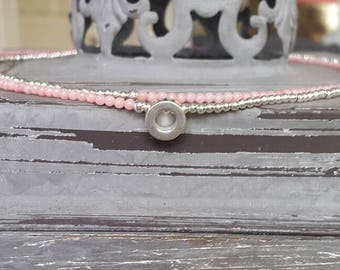Beautiful unusual branch coral necklace in pink with a sterling silver double row