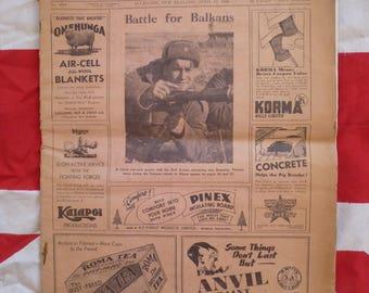 New Zealand Vintage Newspaper. 1944 WW2 News