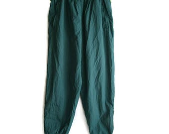 Vintage Track Suit Pants, High waisted track pants, Vintage track suit, Green track pants, Womens track pants, 80s track pants, Size M