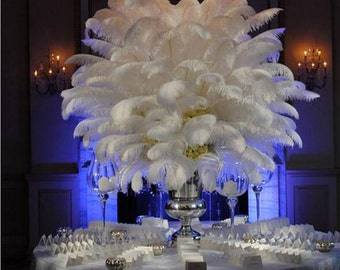 50PCS natural white ostrich feather 25-30 cm / 10 to12 inches feathers wedding decoration performance art plume