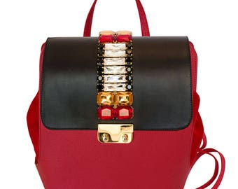 Red leather jewel backpack with red crystals-women's leather backpack in hand made-jewel bag-Coral bags