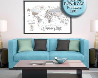Brown grey world map etsy 30x45 printable world map download gray brown large world map detailed gumiabroncs Gallery