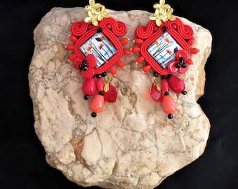 soutache earrings red Poppies, soutache, soutache jewelry, handmade earrings, soutache jewels, soutache embroidery, long earrings