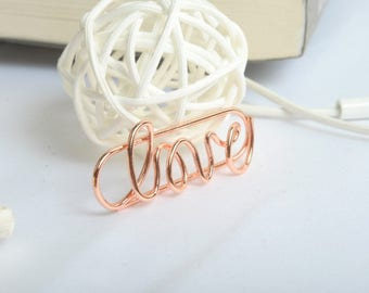 3 PCS - Love Rose Gold Stainless Planner Clips, Paper Clip Planner Accessories Page Marker
