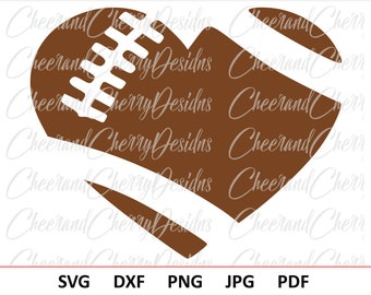 Football Heart SVG Football Svg design Football Heart DXF Football Heart Monogram Football Monogram svg Sport svg Silhouette svg file Cricut
