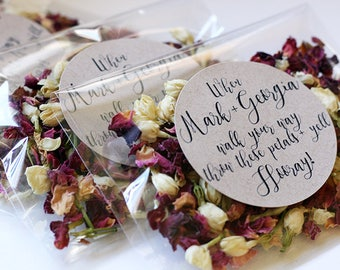 Personalised Wedding Confetti ~ 'ISLA' Organic Rose and Jasmine ~ Biodegradable Wedding Favour ~ 18 Different Designs To Choose From