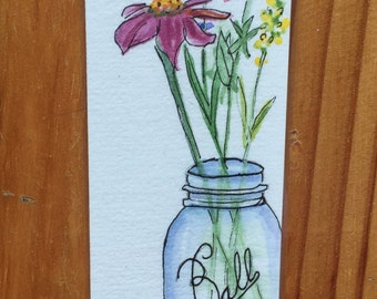 Pen and Ink and Watercolor Bookmark