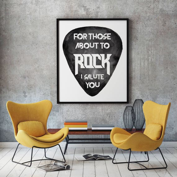 For those about to ROCK! | AC/DC |Printable poster  | Rock music art | black and white wall art| Watercolor| dorm room wall decor | ZuskaArt