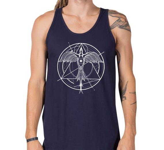 Phoenix ascending | Unisex American Apparel Tank top | Geometrical drawing | Graphic shirt | Tattoo style | Alchemy | ZuskaArt