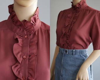 SALE - Cute Raspberry/Plum Romantic Ruffled Blouse