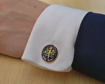USA Dime - Enamelled Coin Cufflinks