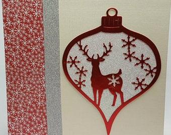 Reindeer Bauble Chrismas Card
