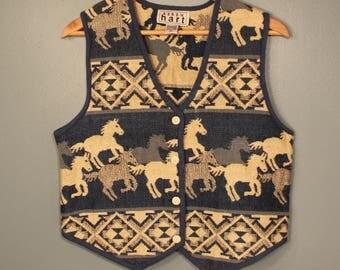 Vintage 80's-90's Horse Vest by Keren Hart Women's Size Medium