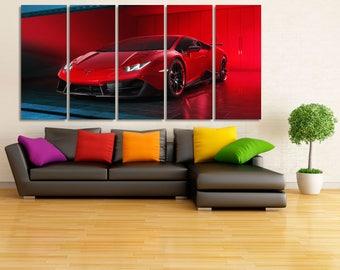 Lamborghini Canvas Print, Lamborghini Poster, Large Lamborghini Wall Art, Car Wall Decor, Red Lamborghini Print, Garage Decor, Garage MR01