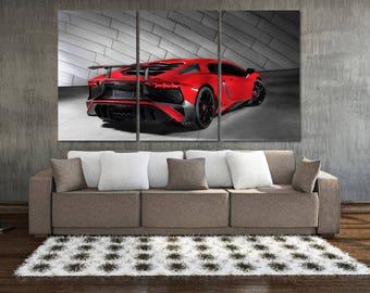 Lamborghini Canvas Print, Lamborghini Poster, Large Lamborghini Wall Art, Car Wall Decor, Red Lamborghini Print, Garage Decor, Garage MR03